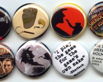 "SHERLOCK HOLMES 8 Pinback 1"" Buttons Badges Pins"