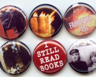 "FAHRENHEIT 451 science fiction  8 Pinback 1"" Buttons Badges Pins"