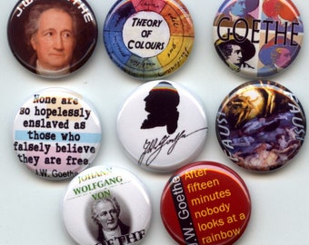 "Johann Wolfgang von GOETHE German writer 8 Pinback 1"" Buttons Badges Pins"