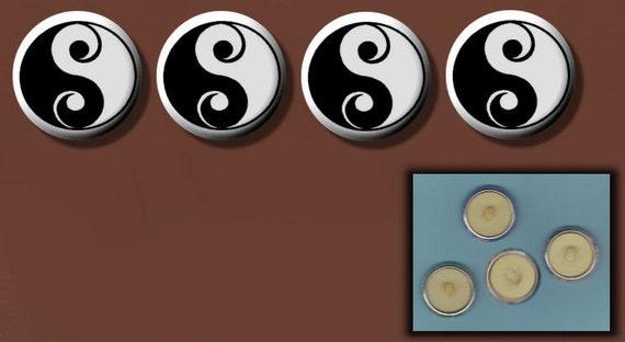 "YIN YANG Black n White 4 Altered Art 1"" Sew-On Shank Buttons"
