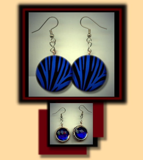ZEBRA ANIMAL PRINT Blue & Black Altered Art Dangle Earrings with Rhinestone