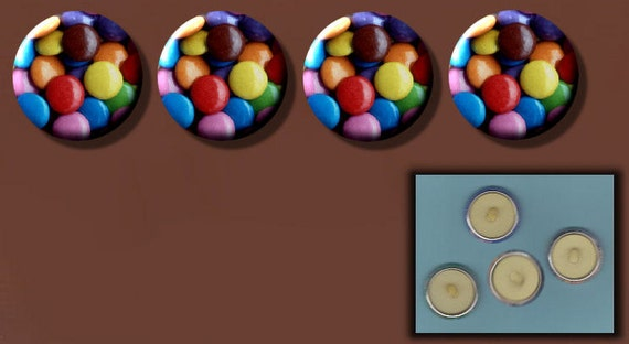 """SMARTIES Multi Color candy 4 hand made Altered Art 1"""" Sew-On Shank Buttons"""