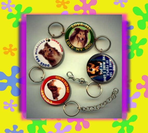 COLLIE LOVER I Love My Pet Dog Altered Art Button Charm Bracelet with Rhinestone