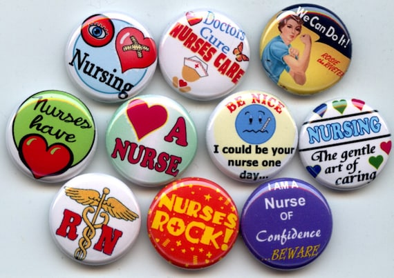 "NURSE RN I love Nursing 10 Pinback 1"" Buttons Badges Pins"
