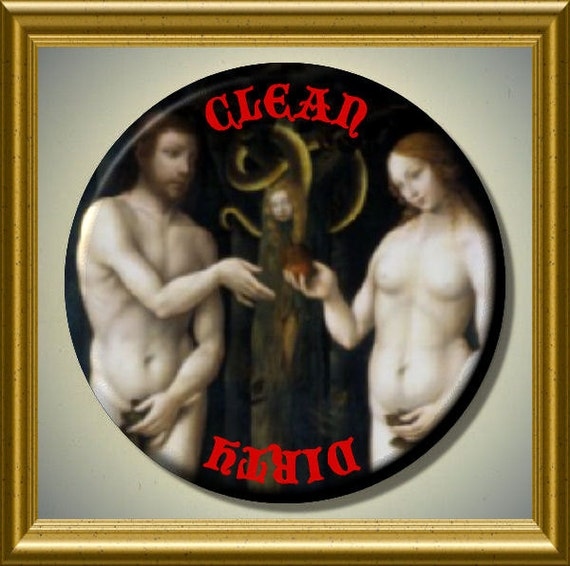 """ADAM AND EVE Garden of Eden Genesis Eating the Apple Dishwasher Clean/Dirty 2.25"""" large Round  Magnet"""