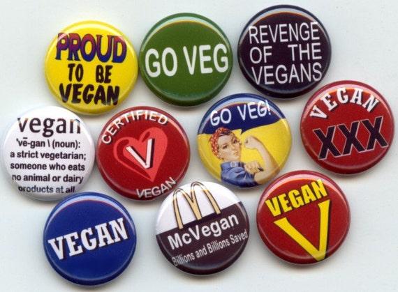 "VEGAN Proud Vegetarian 10 Pinback 1"" Buttons Badges Pins Set 1"