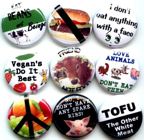 "VEGAN Proud Vegetarian 9 Pinback 1"" Buttons Badges Pins Set 3"