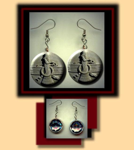FARAVAHAR Zarathustra Symbol Altered Art Dangle Earrings with    Zarathustra Symbol