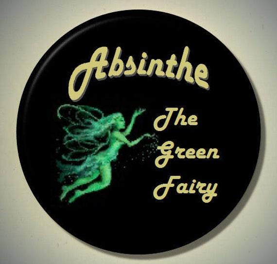 "ABSINTHE Green Fairy Goddess 2.25"" large Round Fridge Magnet"