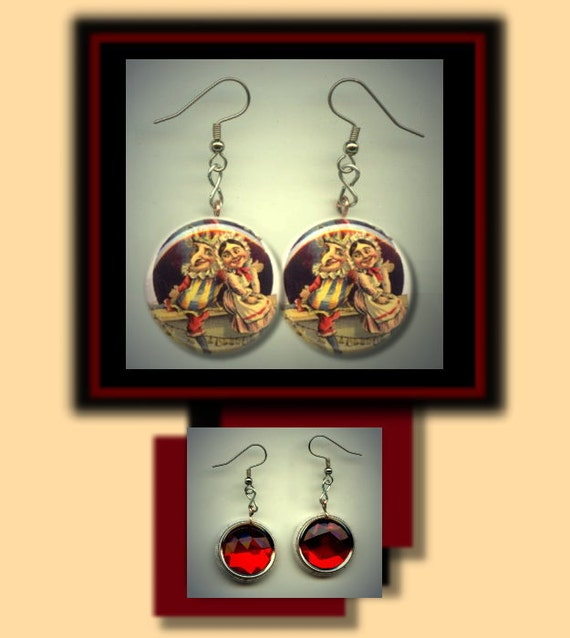 PUNCH and JUDY Altered Art Dangle Earrings with Rhinestone