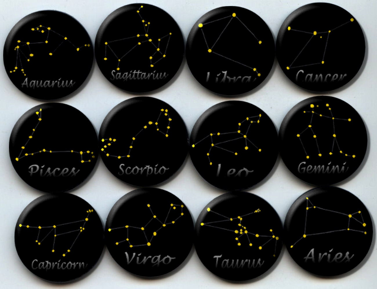 zodiac star constellations astrology 12 pinback 1. Black Bedroom Furniture Sets. Home Design Ideas