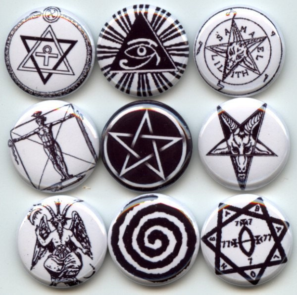 Occult Ancient Symbols Signs Pagan Wicca 9 Pinback 1 Buttons Badges