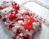 Fractal Hello Kitty Bling Decoden Deco Case For HTC My Touch 4g Slide
