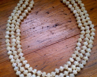Vintage White Bib Necklace - Triple Strand White Shell Necklace - FREE U.S. SHIPPING!