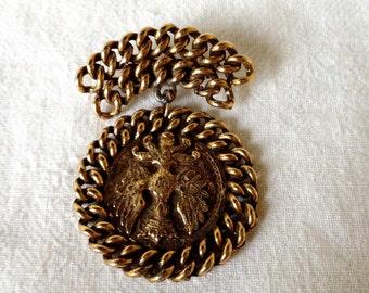 Vintage Monaco Monte Carlo Brass Coin Brooch Pendant - Prince of Monaco
