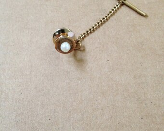 Vintage Modernist Ralph Destino Pearl and 12KGE Gold Tie Tac Pin