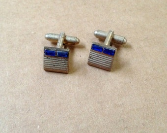 Art Deco Silverplate and Faceted Cobalt Sapphire Blue Cuff Links - FREE SHIPPING