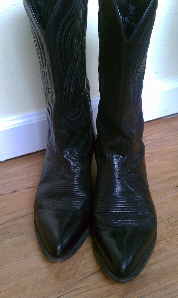 Vintage Tony Lama Black Leather Cowboy Boots Womens Size 10