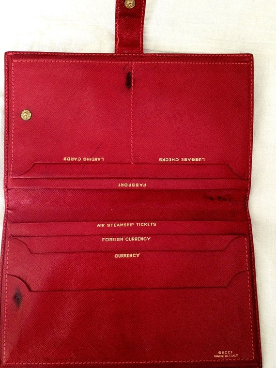 Vintage Red Gucci Travel Wallet Document/Passport Holder Made in Italy