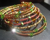 Green Copper and Rust Bollywood Style 8 Loop Memory Wire Bangle