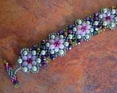 Lilac and Purple Fire Polished Bead Woven Bracelet