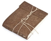 "Rustic Leather Journal or Leather Sketchbook, Speckled Brown, Medium Sized, Nubuck Leather, Handbound Coptic Stitch - 3 3/4"" x 5 1/2"""