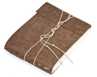 """Rustic Leather Journal or Leather Sketchbook, Speckled Brown, Medium Sized, Nubuck Leather, Handbound Coptic Stitch - 3 3/4"""" x 5 1/2"""""""