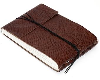 "Leather Journal or Sketchbook, Embossed Brandy, Medium Sized, Handbound Coptic Stitch - 3 3/4"" x 5 1/2"""