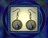 Peacock Bird Vintage Art Brass Charm Earrings