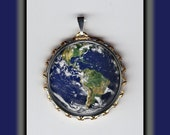 Planet Earth Beautiful Blue Marble Outer Space Art Brass Charm
