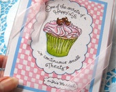 Pink Cupcake Note Cards - Gift Boxed Notes - Cupcake Thank You Notes - Happy Life Quote Cards