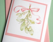 Mistletoe Christmas Card - Christmas Botanical Art Card