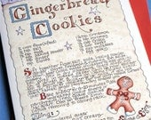 Gingerbread Men Christmas Card. Christmas Cookie Recipe Holiday Card