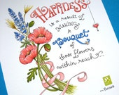 Happiness Quote Art. Flowers Print. Pink Poppies. 8x10 Floral Art - Happiness Bouquet