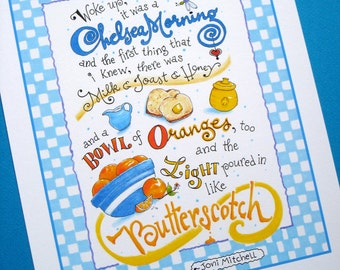 Chelsea Morning Blue Kitchen Print - Song Quote Art - Folk Music Art - Hand Lettered Print - 8x10