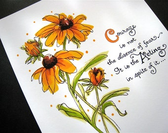 Courage Art Print - Mark Twain Quote - Black-eyed Susans Floral Art - 5x7 Print