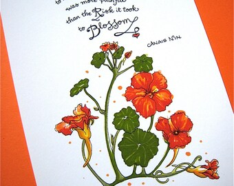 Literary Quote Print - Motivational Art - Anais Nin Quote - Botanical Floral Art - Red Nasturtiums 5x7