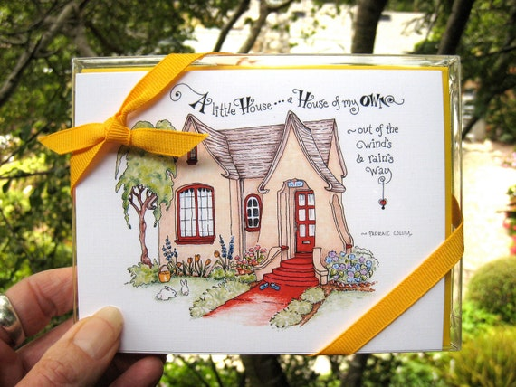 Cottage Note Cards. Home Quotes. Stationery Set of 4 Folded Notes