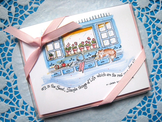 Sweet, Simple Life Stationery Set. Note Cards with Literary Quotes. Boxed Set of 4 Notes