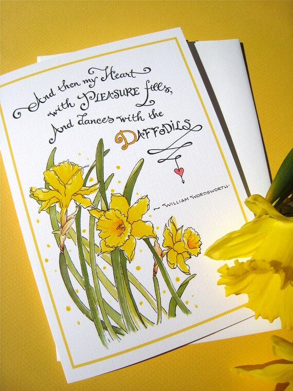 Daffodils Thank You Card, Hello Card, Happy Quote, Wordsworth Poem - Dances with Daffodils
