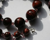 Red Tiger Eye Necklace, Classic Graduating Beads - Planetary Birthstone of Gemini, June Gift, Semi Precious Gemstone, Jewelry Gift For Her
