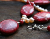 Pearl and Crazy Lace Agate Necklace - Vibrant Red Pink Jewelry, Eyecatching, Statement Jewelry, High Fashion, Bridal wear