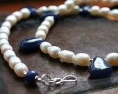 Spring Bride Pearl and Blue Necklace and Earrings Set - Bridal Wedding Jewelry - Something Blue