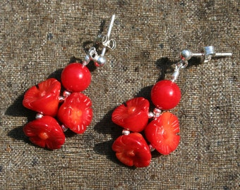 Red Flower Earrings - Pretty Carved Coral Flowers, Spring Summer, Feminine Jewelry Gift, Red Gift for Her