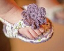 Crocheted Baby Flip Flops - 100% Soft Cotton - Spring Summer Handmade - Violet - Spring Green - White