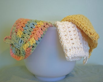Crochet Dishcloths - 100% Cotton - Set of 3 - Kitchen