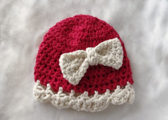Crochet Baby Cloche - Red And Cream With Bow - 100% Cotton -  Valentines Day