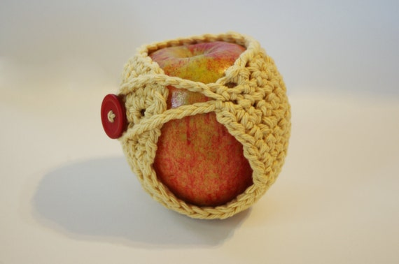 Crochet Apple Cozy - Handmade Cotton Cozy  Yellow Gold - Back To School - Teacher Gift