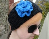 Hand Knit Black Blueberry Rose Headband