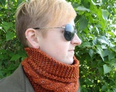 Hand Knit Rust Peruvian Wool and Donegal Tweed Unisex Cowl